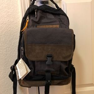Eddie Bauer Leather Trimmed Day pack Backpack NWT